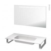 Pack salle de bains PMR - Plan vasque en résine REZO - Miroir lumineux - L100,5 x P50,5 cm