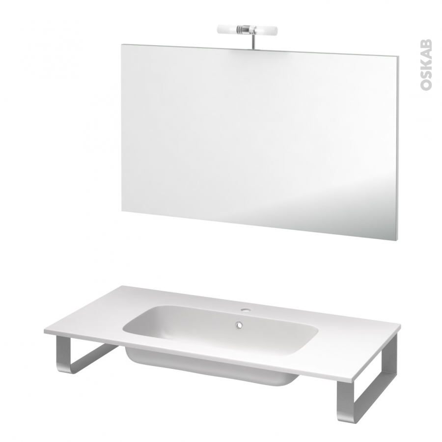 pack salle de bains pmr plan vasque en r sine rezo miroir et clairage l100 5 x p50 5 cm oskab. Black Bedroom Furniture Sets. Home Design Ideas