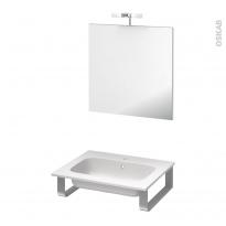 Pack salle de bains PMR - Plan vasque en résine REZO - Miroir et éclairage - L60,5 x P50,5 cm