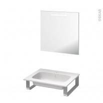 Pack salle de bains PMR - Plan vasque en résine REZO - Miroir lumineux - L60,5 x P50,5 cm