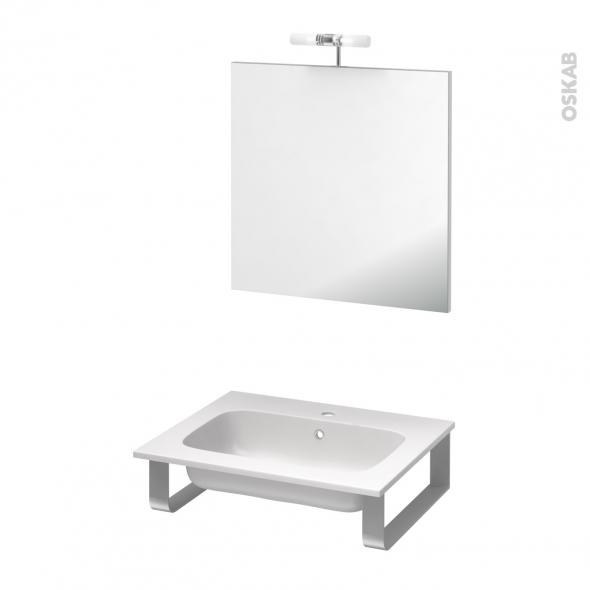 pack salle de bains pmr plan vasque en r sine rezo miroir et clairage l60 5 x p50 5 cm oskab. Black Bedroom Furniture Sets. Home Design Ideas