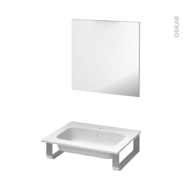 Pack salle de bains PMR - Plan vasque en résine REZO - Miroir - L60,5 x P50,5 cm