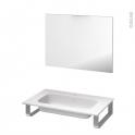 Pack salle de bains PMR - Plan vasque en résine REZO - Miroir - L80,5 x P50,5 cm