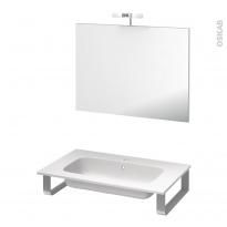 Pack salle de bains PMR - Plan vasque en résine REZO - Miroir et éclairage - L80,5 x P50,5 cm