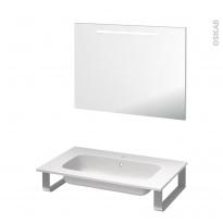 Pack salle de bains PMR - Plan vasque en résine REZO - Miroir rétroéclairé - L80,5 x P50,5