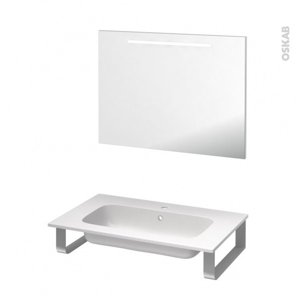Pack salle de bains PMR - Plan vasque en résine REZO - Miroir lumineux - L80,5 x P50,5 cm