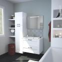 Ensemble salle de bains - Meuble STATIC Blanc - Plan vasque résine - Miroir lumineux - L80,5 x H58,5 x P50,5 cm