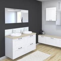 Ensemble salle de bains - Meuble STATIC Blanc - Plan de toilette Chêne clair Ikoro - Double vasque - Miroir lumineux - L120 x H70 x P50 cm