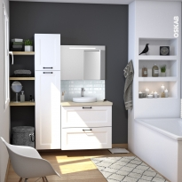 Ensemble salle de bains - Meuble STATIC Blanc - Plan de toilette Chêne clair Ikoro - Vasque ronde - Miroir lumineux - L80 x H70 x P50 cm