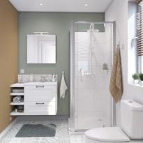 Ensemble salle de bains - Meuble STATIC Blanc - Plan vasque résine - Miroir et éclairage - L60,5 x H58,5 x P40,5 cm