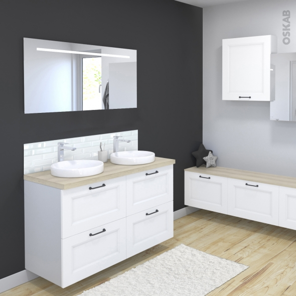 ensemble salle de bains meuble static blanc plan de toilette ch ne naturel double vasque miroir. Black Bedroom Furniture Sets. Home Design Ideas