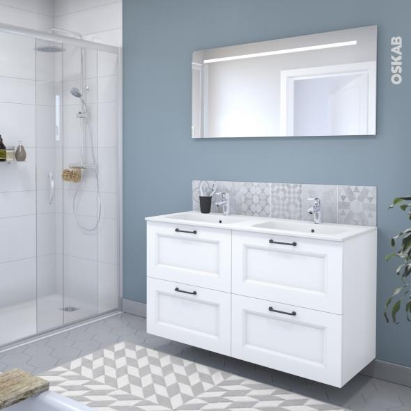 Ensemble salle de bains Meuble STATIC Blanc - Plan double vasque résine - Miroir lumineux - L120,5 x H71,5 x P50,5 cm
