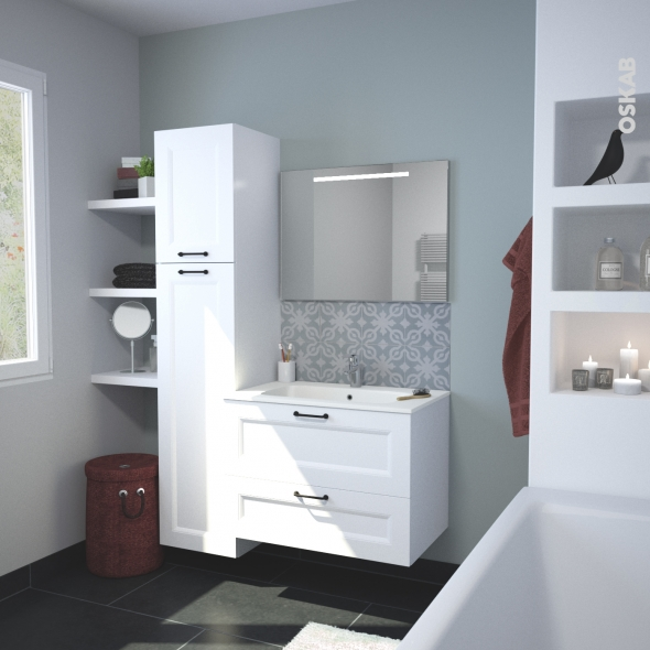 Ensemble salle de bains meuble static blanc plan vasque r sine miroir lumineux l80 5 x h58 5 x - Salle de bain resine ...