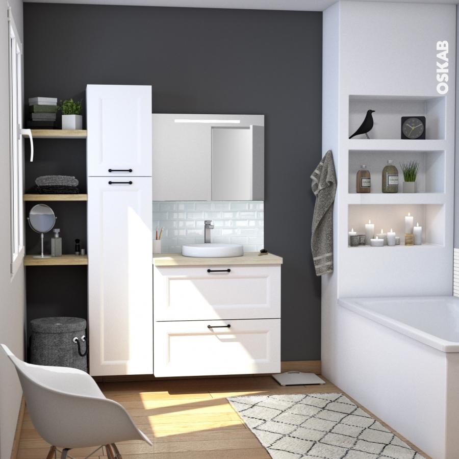 Ensemble salle de bains meuble static blanc plan de - Miroir salle de bain blanc ...