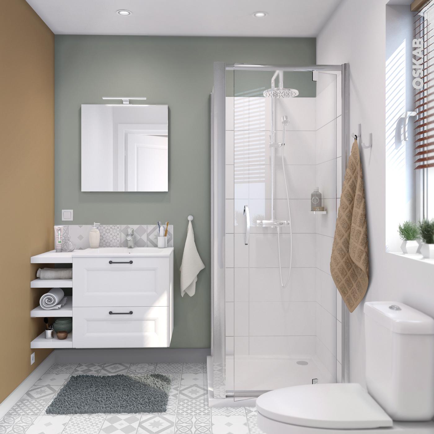 Nettoyer Evier Resine Noir ensemble salle de bains meuble static blanc plan vasque résine, miroir et  éclairage, l60,5 x h58,5 x p40,5 cm