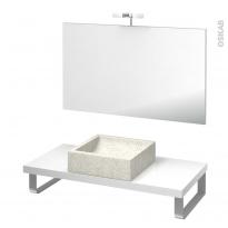 Pack salle de bains PMR - Vasque à poser LUDWIG Blanc - Plan de toilette Blanc - Miroir et éclairage - L100 x P50 cm