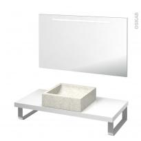 Pack salle de bains PMR - Vasque à poser LUDWIG Blanc - Plan de toilette Blanc - Miroir lumineux - L100 x P50 cm