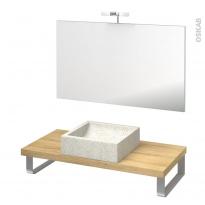 Pack salle de bains PMR - Vasque à poser LUDWIG Blanc - Plan de toilette Hosta - Miroir et éclairage - L100 x P50 cm