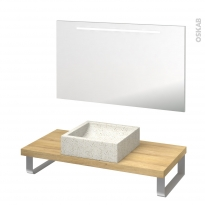 Pack salle de bains PMR - Vasque à poser LUDWIG Blanc - Plan de toilette Hosta - Miroir lumineux - L100 x P50 cm