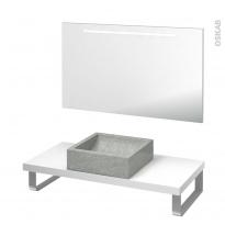 Pack salle de bains PMR - Vasque à poser LUDWIG Gris - Plan de toilette Blanc - Miroir lumineux - L100 x P50 cm