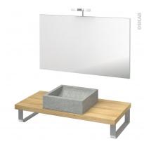 Pack salle de bains PMR - Vasque à poser LUDWIG Gris - Plan de toilette Hosta - Miroir et éclairage - L100 x P50 cm