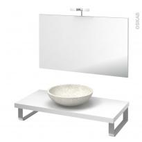 Pack salle de bains PMR - Vasque à poser RICIA Blanc - Plan de toilette Blanc - Miroir et éclairage - L100 x P50 cm