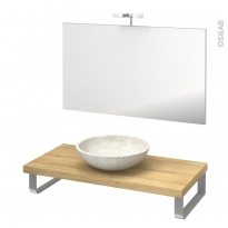 Pack salle de bains PMR - Vasque à poser RICIA Blanc - Plan de toilette Hosta - Miroir et éclairage - L100 x P50 cm