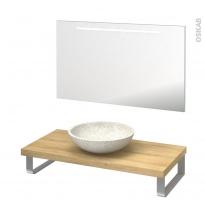 Pack salle de bains PMR - Vasque à poser RICIA Blanc - Plan de toilette Hosta - Miroir lumineux - L100 x P50 cm