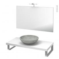 Pack salle de bains PMR - Vasque à poser RICIA Gris - Plan de toilette Blanc - Miroir et éclairage - L100 x P50 cm