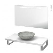 Pack salle de bains PMR - Vasque à poser RICIA Gris - Plan de toilette Blanc - Miroir lumineux - L100 x P50 cm