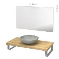 Pack salle de bains PMR - Vasque à poser RICIA Gris - Plan de toilette Hosta - Miroir et éclairage - L100 x P50 cm