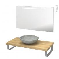 Pack salle de bains PMR - Vasque à poser RICIA Gris - Plan de toilette Hosta - Miroir lumineux - L100 x P50 cm