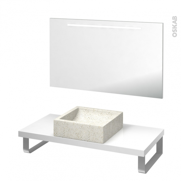 Pack salle de bains PMR - Vasque à poser Ludwig blanc - Plan de toilette Blanc - Miroir rétroéclairé - L100 x P50