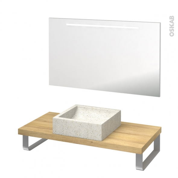Pack salle de bains PMR - Vasque à poser Ludwig blanc - Plan de toilette Hosta - Miroir rétroéclairé - L100 x P50