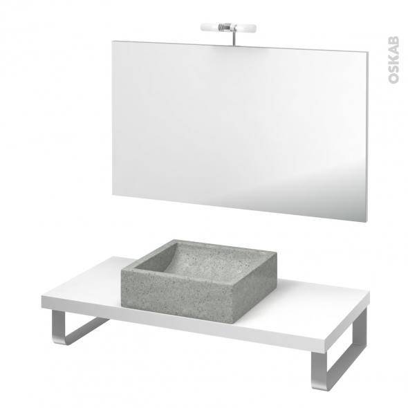 Pack salle de bains PMR - Vasque à poser LUDWIG Gris - Plan de toilette Blanc - Miroir et éclairage - L100 x P50 cm