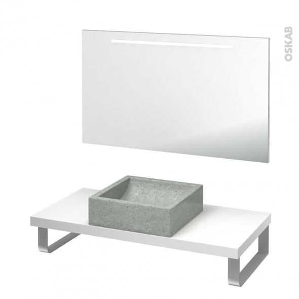 Pack salle de bains PMR - Vasque à poser Ludwig gris - Plan de toilette Blanc - Miroir rétroéclairé - L100 x P50
