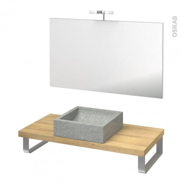 Pack salle de bains PMR - Vasque à poser Ludwig gris - Plan de toilette Hosta - Miroir et éclairage - L100 x P50