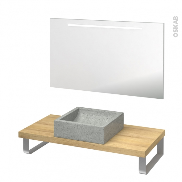 Pack salle de bains PMR - Vasque à poser LUDWIG Gris - Plan de toilette Hosta - Miroir lumineux - L100 x P50 cm