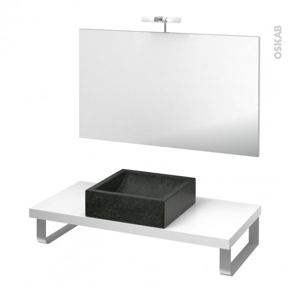 Pack salle de bains PMR - Vasque à poser Ludwig noir - Plan de toilette Blanc - Miroir et éclairage - L100 x P50