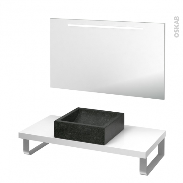 Pack salle de bains PMR - Vasque à poser LUDWIG Noir - Plan de toilette Blanc - Miroir lumineux - L100 x P50 cm