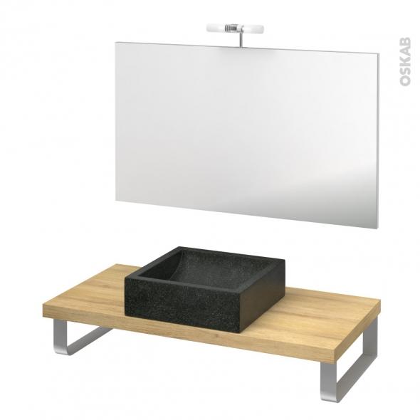 Pack salle de bains PMR - Vasque à poser LUDWIG Noir - Plan de toilette Hosta - Miroir et éclairage - L100 x P50 cm
