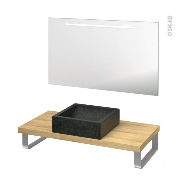 Pack salle de bains PMR - Vasque à poser LUDWIG Noir - Plan de toilette Hosta - Miroir lumineux - L100 x P50 cm