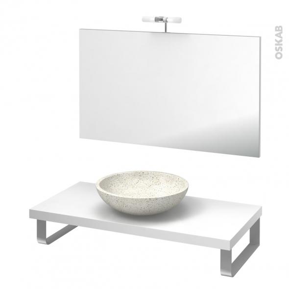 Pack salle de bains PMR - Vasque à poser Ricia blanc - Plan de toilette Blanc - Miroir et éclairage - L100 x P50