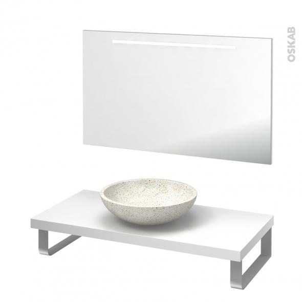 Pack salle de bains PMR - Vasque à poser RICIA Blanc - Plan de toilette Blanc - Miroir lumineux - L100 x P50 cm