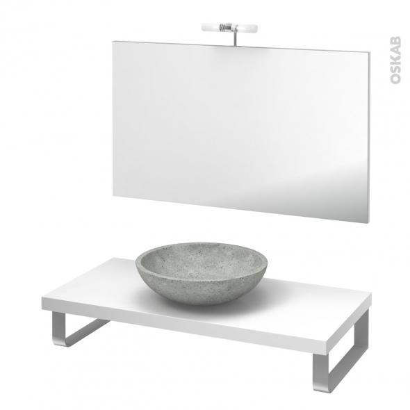 Pack salle de bains PMR - Vasque à poser Ricia gris - Plan de toilette Blanc - Miroir et éclairage - L100 x P50