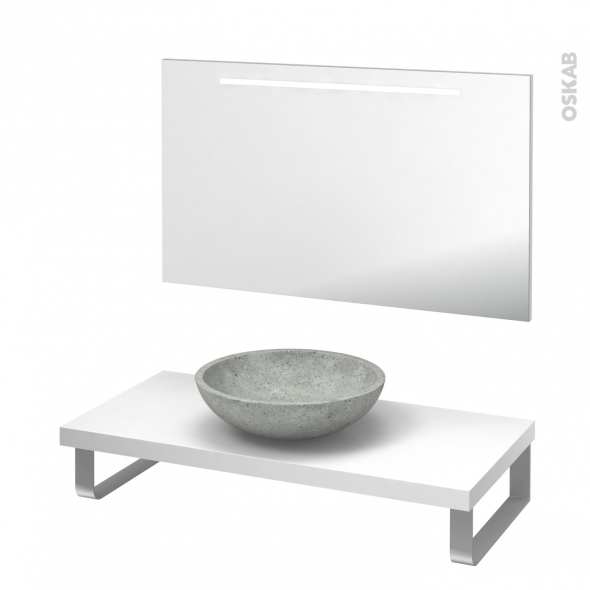 Pack salle de bains PMR - Vasque à poser Ricia gris - Plan de toilette Blanc - Miroir rétroéclairé - L100 x P50