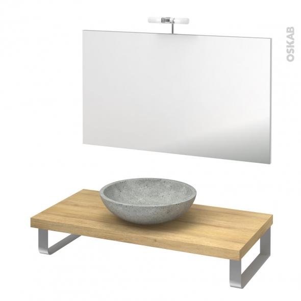 Pack salle de bains PMR - Vasque à poser Ricia gris - Plan de toilette Hosta - Miroir et éclairage - L100 x P50