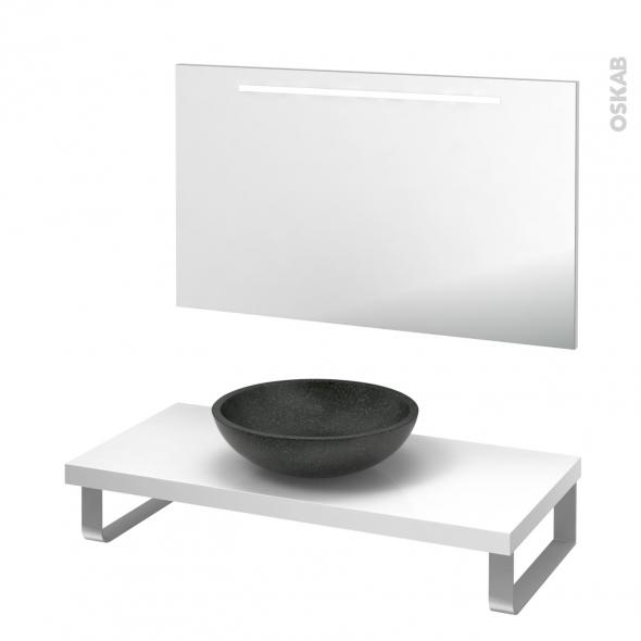 Pack salle de bains PMR - Vasque à poser RICIA Noir - Plan de toilette Blanc - Miroir lumineux - L100 x P50 cm