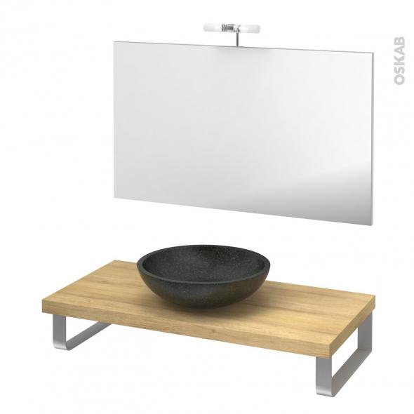 Pack salle de bains PMR - Vasque à poser Ricia noir - Plan de toilette Hosta - Miroir et éclairage - L100 x P50