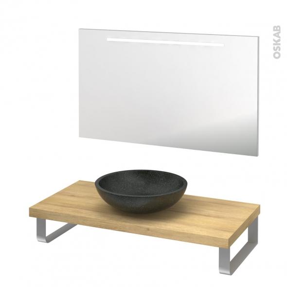 Pack salle de bains PMR - Vasque à poser Ricia noir - Plan de toilette Hosta - Miroir rétroéclairé - L100 x P50